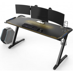 Bureau gamer Ultradesk SPACE XXL (LED) Jaune