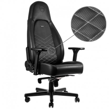 Fauteuil NOBLECHAIRS ICON Noir Coutures Blanches